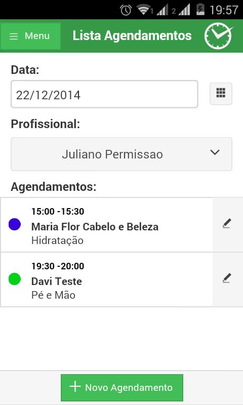 Listagem de agendamentos